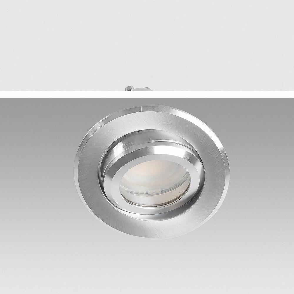 Deckeneinbaurahmen schwenkbar rund Alu gebürstet 5227 Ø 70mm