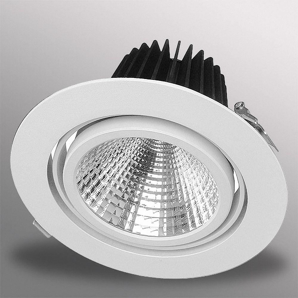 40W LED Einbauleuchte EXLITE-R 5000K Weiß schwenkbar Ø 175mm