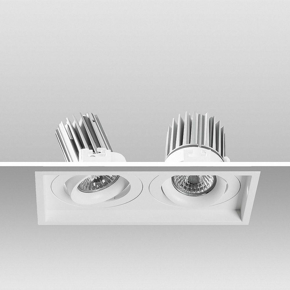 LED Kardan Einbauleuchte 2-fach 2700K Warmweiß 18W 509T2 Ø 187x98mm