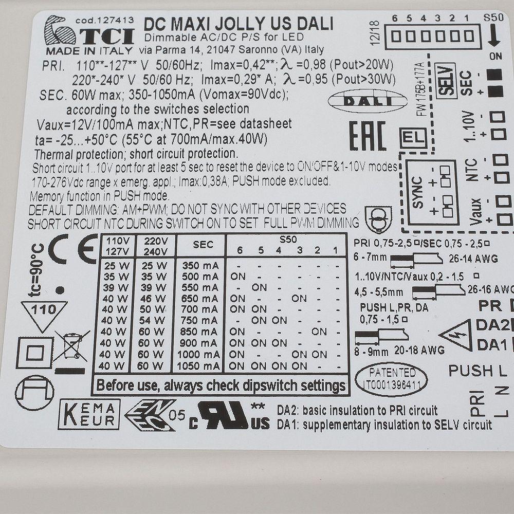 TCI DC Maxi Jolly US DALI 0 - 60W 127413