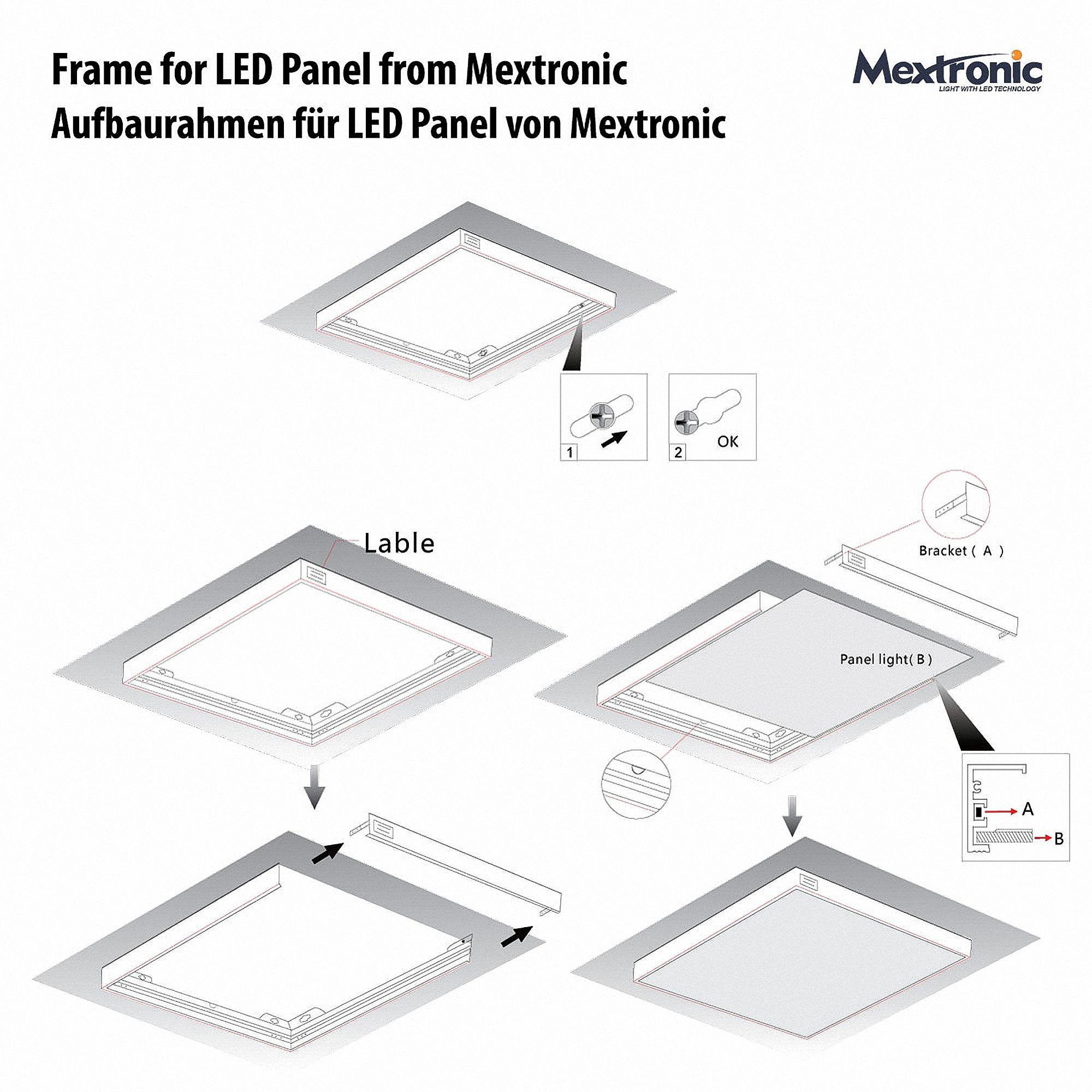 Montagerahmen S1030 für 30x30 LED PANEL Aufbau Anbau MextronicShop ...