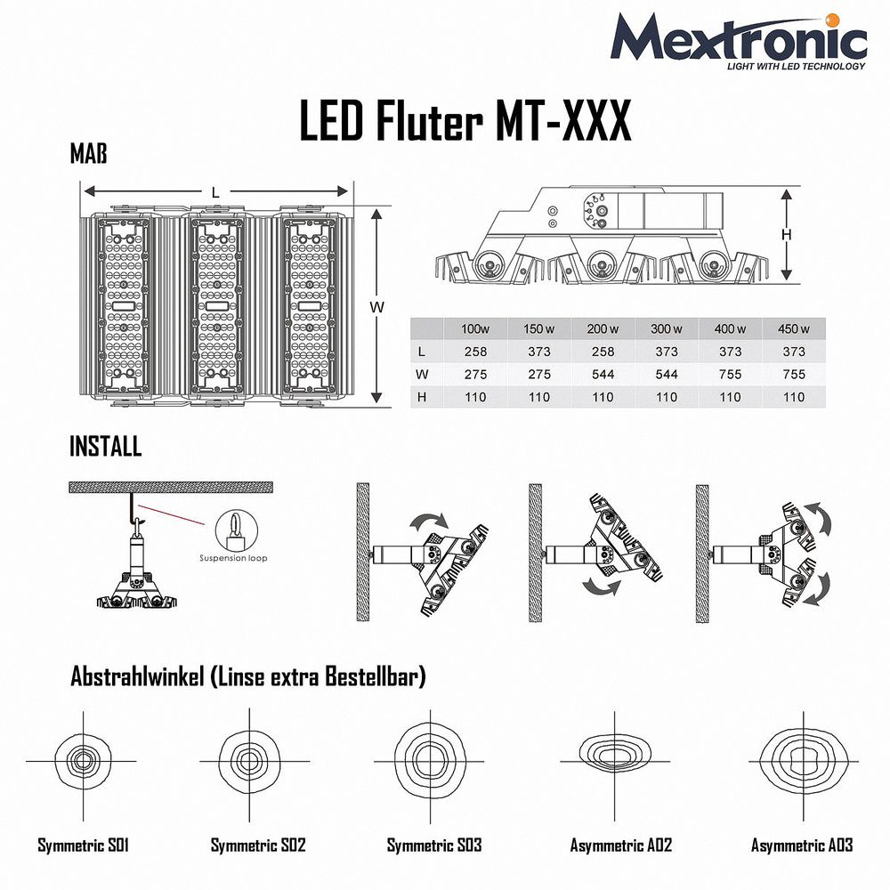 LED Fluter MT-A03 100W Neutralweiß 13000 Lumen IP65 CRI>80