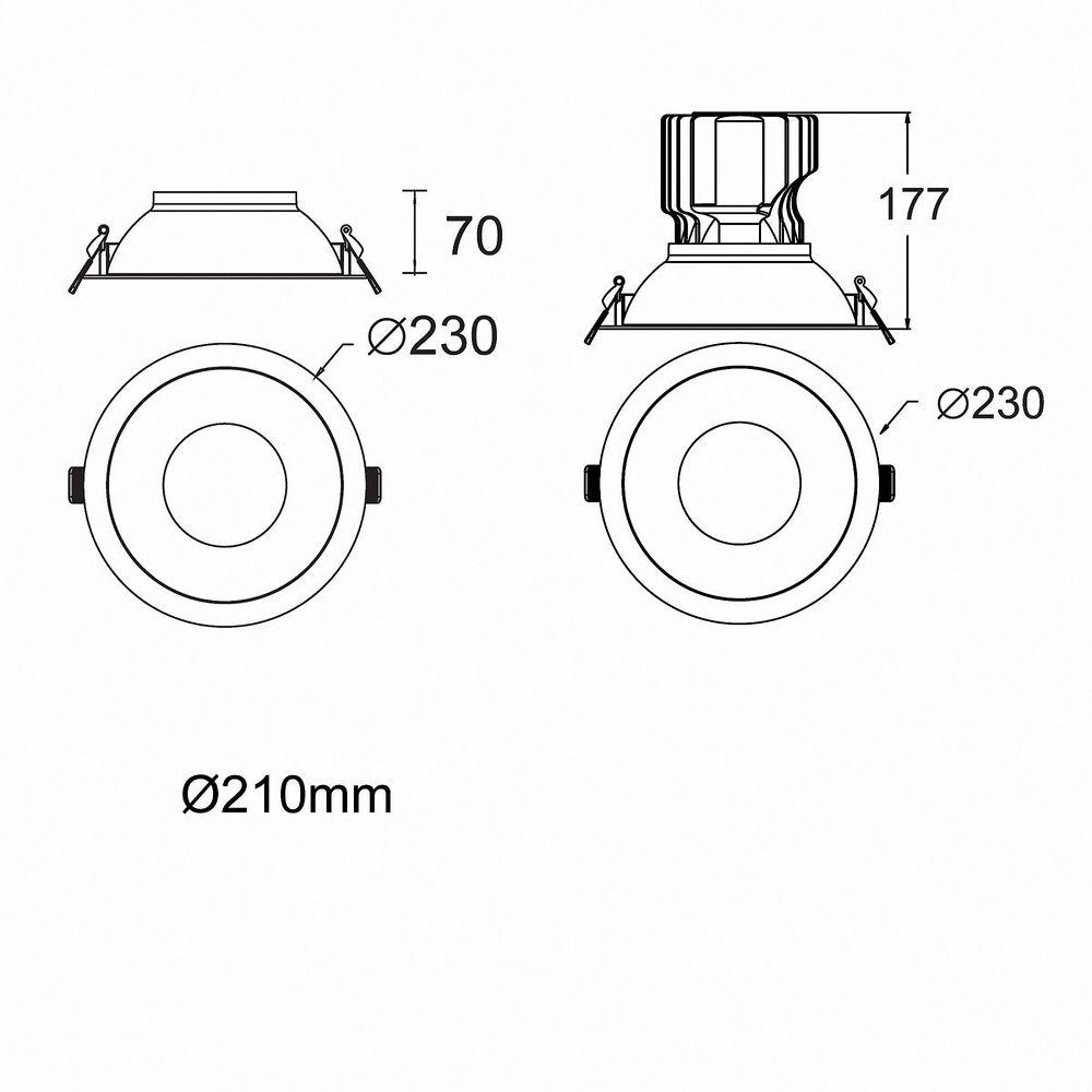 LED Einbauleuchte Genius 50W 830 Warmweiß S628 Ø 210mm