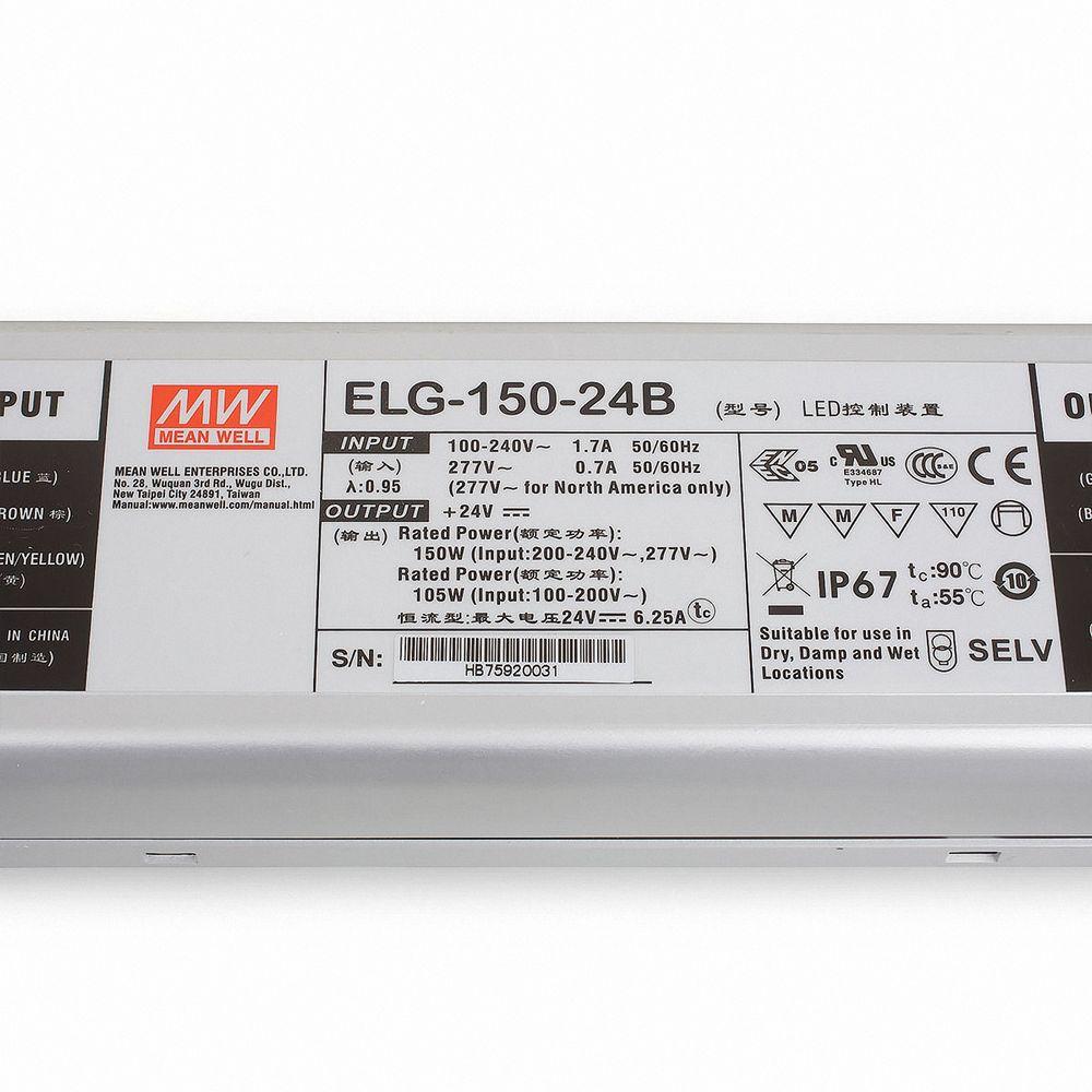 Mean Well ELG-150-24B Schaltnetzteil 24V / 0-6,25A / 150W IP67 dimmbar