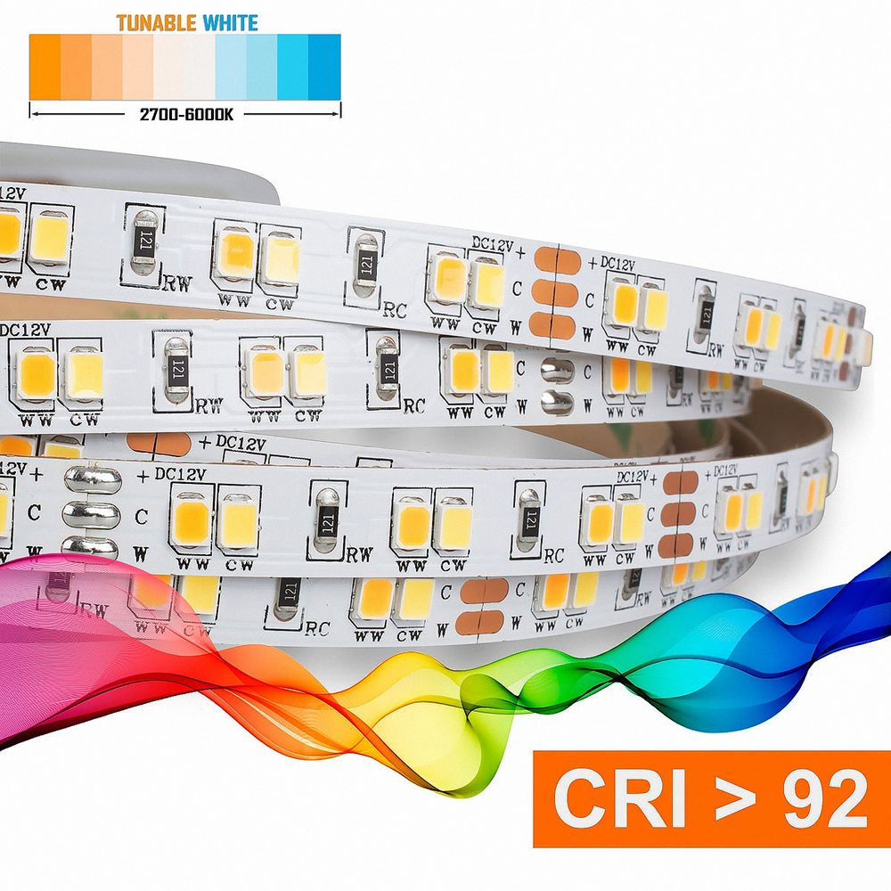 LED Strip 2835 TUNABLE WHITE (2700-6000K) CRI 92 72W 5 Meter 12V IP20