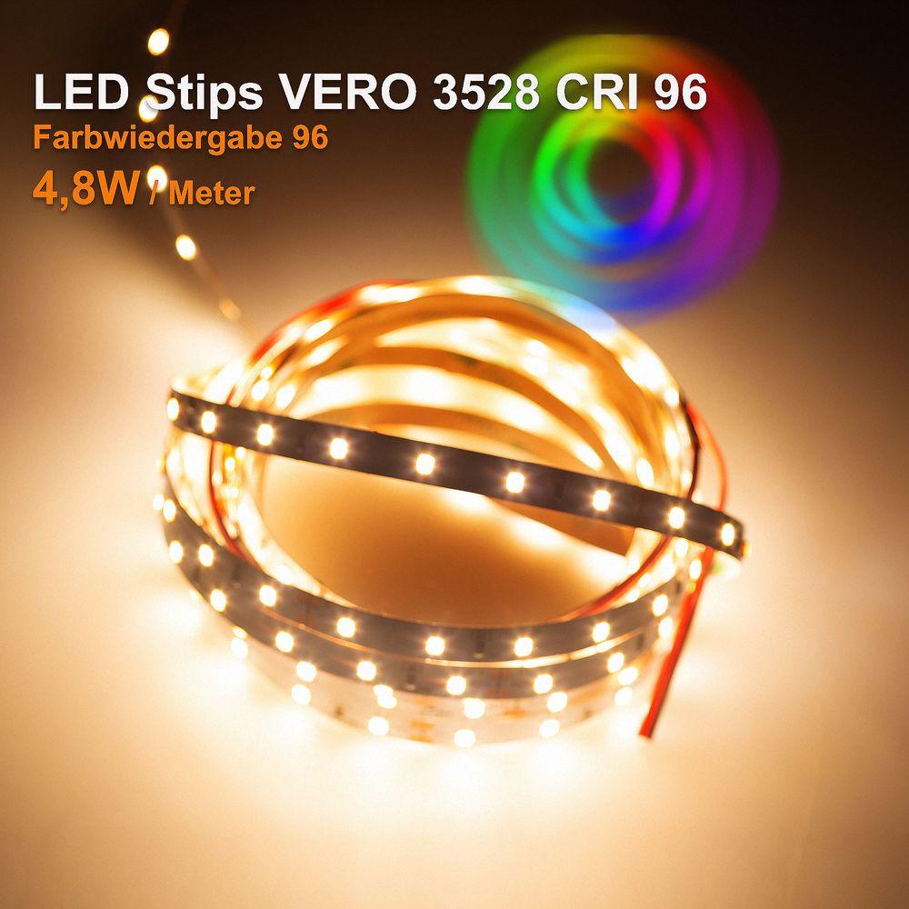 LED Strip VERO Warmweiß (3000K) CRI 96 24W 5 Meter 24V IP20