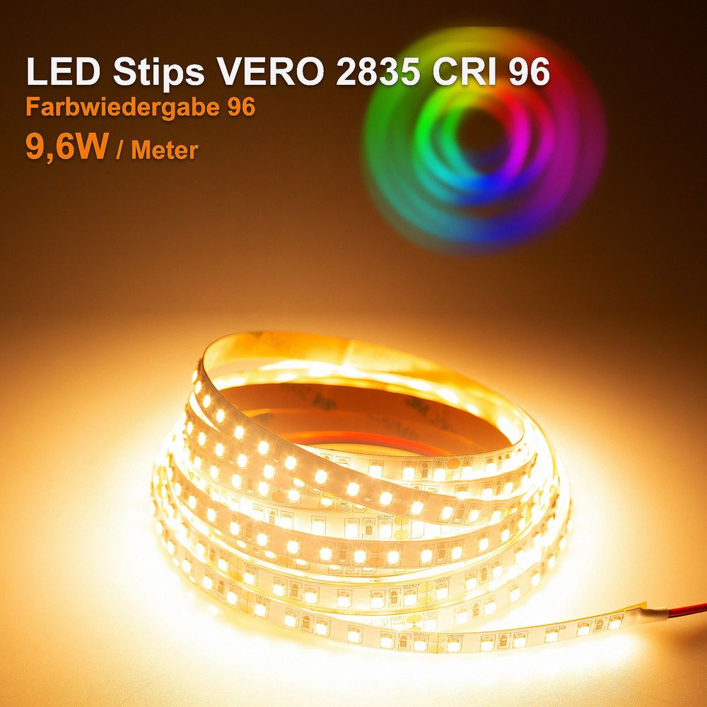 LED Strip VERO Warmweiß (2700K) CRI 96 48W 5 Meter 24V IP20