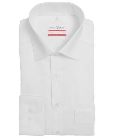 3 Stück Marvelis Hemd Modern Fit uni weiss 4700.69.00 extra langer Arm 69 cm