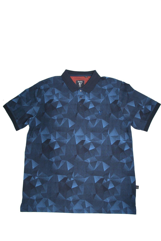 Hajo Poloshirt Kurzarm Shirt 25845 609 Blau Gemustert Herren