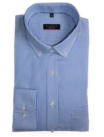 eterna Hemd Modern Fit blau / weiss gestreift Button Down  - 8992/16 X193