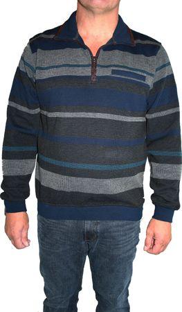 HS Navigazione Sweatshirt Langarm 16502 559 marine/grau gestreift 52 / L – Bild 1