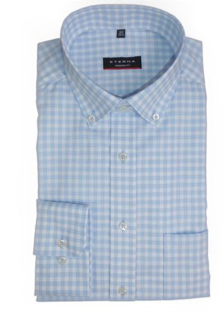 eterna Hemd Modern Fit Button Down blau / weiss Karo - 8847 / 12 X193