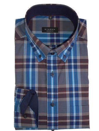 eterna Hemd Comfort Fit auch Übergröße blau/bordeaux  Karo 65 cm Arm 2283/68 E14