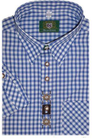 Trachten Hemd Regular Fit Kurzarm blau Karo oder rot Karo – Bild 1