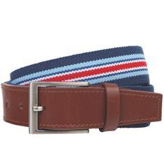 LINDENMANN Stretch Ledergürtel Herren / Gürtel Herren, Textil und Vollrindleder, blau-weiss-rot – Bild 1