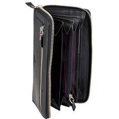 MANO Portemonnaie / Geldbeutel Damen, MARGO RV Geldbörse lang, Rindleder Geldbeutel, schwarz – Bild 3