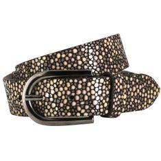 LINDENMANN The Art of Belt Ledergürtel Damen / Gürtel Damen, Rindledergürtel mit Perlenprint, metallic-braun – Bild 1