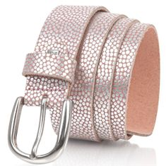 LINDENMANN The Art of Belt Ledergürtel Damen / Gürtel Damen, Rindledergürtel mit Metallic-Effekt, old pink – Bild 2