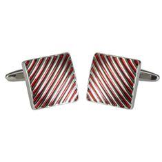 LINDENMANN Manschettenknöpfe, silberfarben, Lack rot, poliert, linien Design, Geschenketui, 10677 – Bild 1