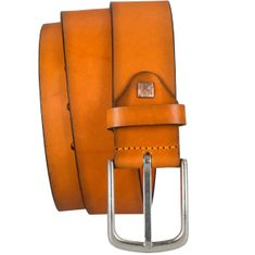 LINDENMANN The Art of Belt Ledergürtel Herren / Gürtel Damen unisex, Vollrindleder, orange – Bild 2