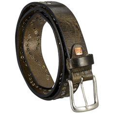 LINDENMANN The Art of Belt Ledergürtel Damen / Gürtel Damen, Vollrindleder mit Nieten, oliv – Bild 2