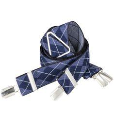 LINDENMANN Hosenträger Herren, X-Form, 35 mm, Stretch, XXL, blau-marine, 8600-004 – Bild 1