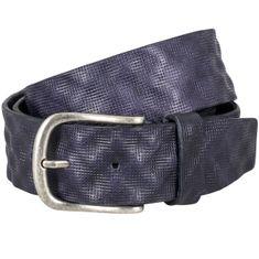 LINDENMANN The Art of Belt Ledergürtel Damen / Ledergürtel Herren, Vollrindleder mit Ornamentprägung, Unisex, dunkelblau – Bild 1
