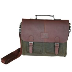 LINDENMANN The Art of Belt Ledertasche Herren / Herrentasche, Rindleder mit Canvas, oliv