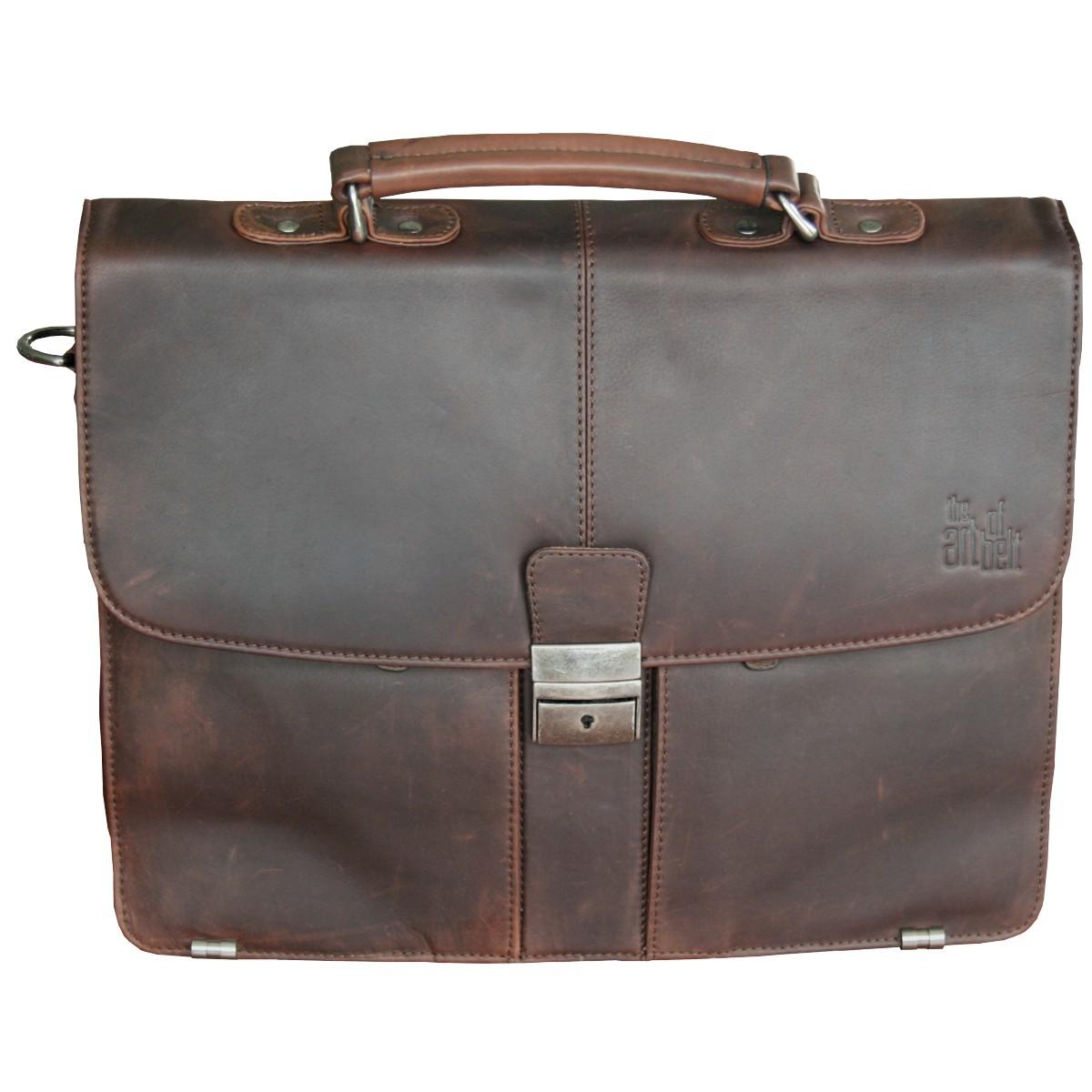 LINDENMANN The Art of Belt Herren Tasche   Herrentasche, antikem Rindleder,  Business, dunkelbraun 66282cd17a