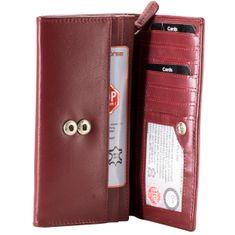 Bruno Banani Damen Portemonnaie / Geldbeutel Damen, Datenschutz Geldbörse RFID Blocker, Querformat, echt Leder, rot – Bild 2