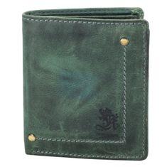 OTTO KERN Herrenbörse / Geldbeutel Herren, Vintage Geldbörse, Geldbeutel hoch mit Überschlag, echt Leder, grün – Bild 1