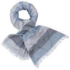 LINDENMANN Herren Schal Sommer / Baumwolle-Leinen, Herrenschal, blau-grau-schwarz – Bild 1