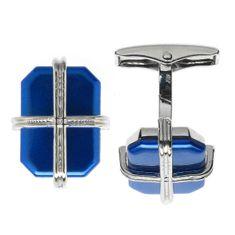 LINDENMANN Manschettenknöpfe, silberfarben, Blau metraquilato, poliert, Geschenketui, 10714