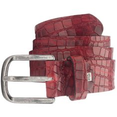 LINDENMANN Vollrind-Ledergürtel Herren / sportlicher Jeans-Gürtel Vollrind Herren, rot – Bild 1