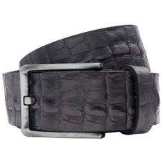 LINDENMANN Vollrind-Ledergürtel Herren / Jeans-Gürtel Vollrind Herren, grau – Bild 2