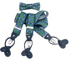LINDENMANN Hosenträger Herren 35 mm breit mit Fliege, Y-Form mit Lederpaten, Herren-Hosenträger mit 3 Clips, Längenverstellbar, elastisch und flexibel, grün – Bild 1