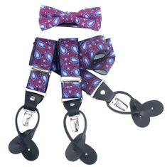 LINDENMANN Hosenträger Herren 35 mm breit mit Fliege, Y-Form mit Lederpaten, Herren-Hosenträger mit 3 Clips, Längenverstellbar, elastisch und flexibel, rosa – Bild 1