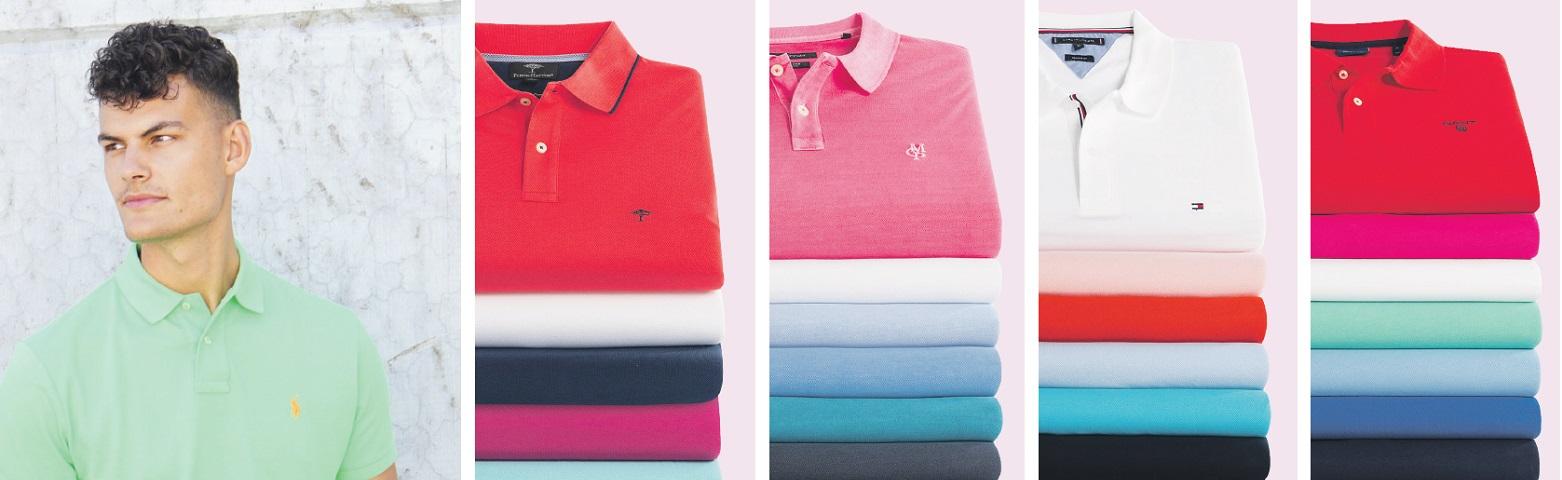 Polos für Herren in allen Farben und Formen von rot, grün, schwarz, weiß bishin zu rosa, blau und grün. Die Poloshirts sind optimal zur Short und für warme Sommertage.
