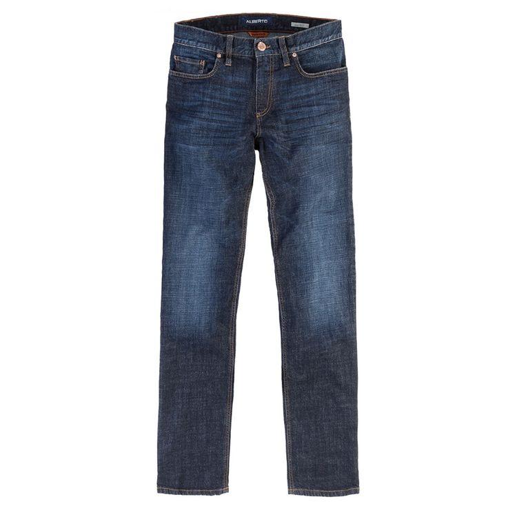 Alberto Herren Jeans Pipe Regular Slim Fit Authentic Denim Dark Blue