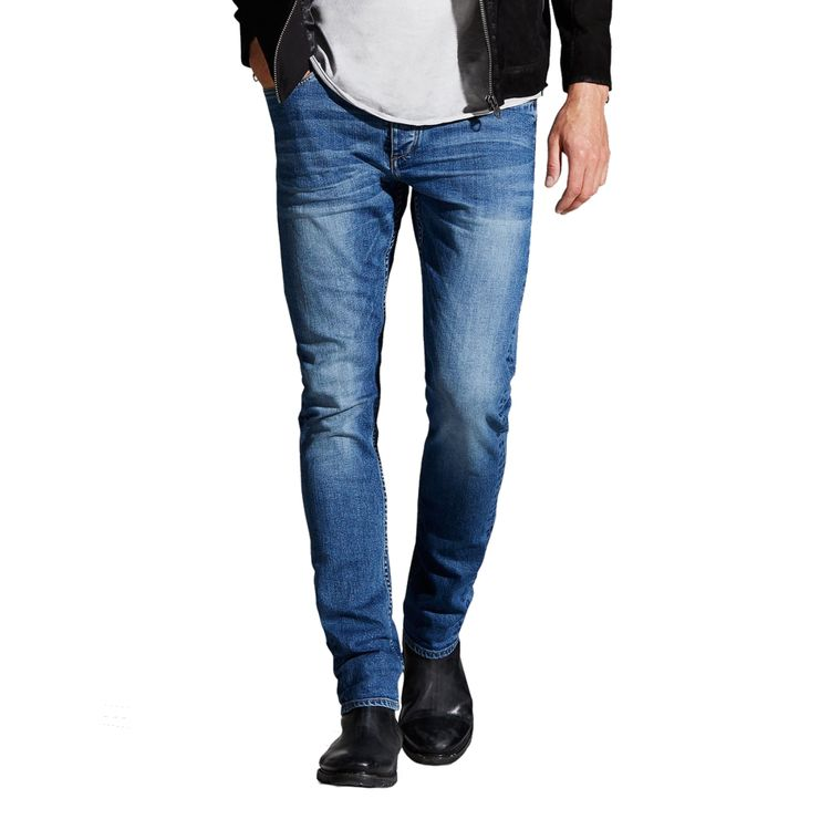 Jack & Jones Herren Jeans Tim Original Slim Fit Blue Washed Denim