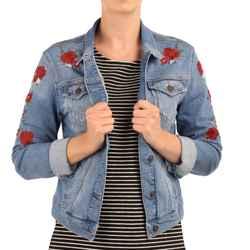 Mavi Damen Jeansjacke DAISY Jacket Flower Embro 001