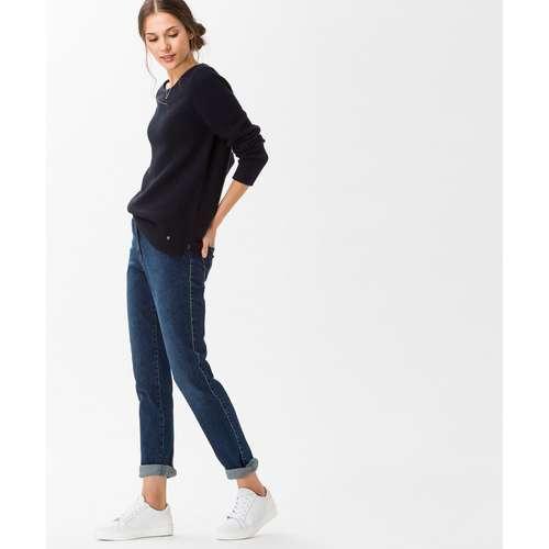 BRAX Damen Jeans MARY Slim Fit Crystal Romance Used Regular Blue Stretch