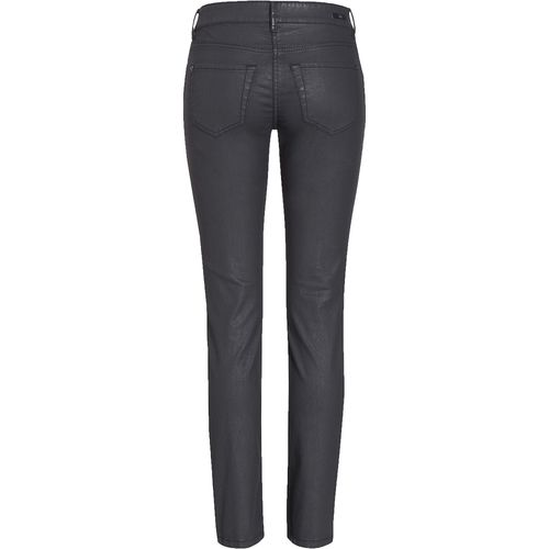 MAC Damen Jeans CARRIE PIPE POCKET ZIP Regular Fit Coated Cotton Black Stretch