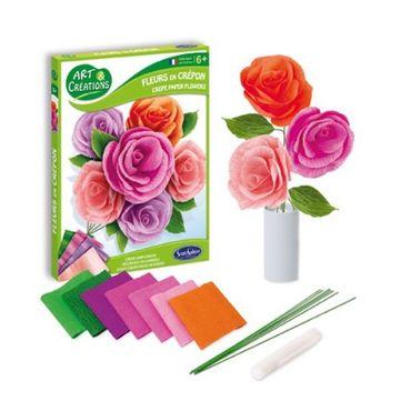 SENTOSPHERE Bastelset Kreppblumen Kreativset Kinder Papierblumen 02001 – Bild 2
