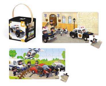 Janod Puzzle Box Polizei 2 verschiedene Motive legen 24 bis 36 Teile J02767 – Bild 3