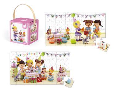 Janod Lovely Puzzle Juliette´s Geburtstag Puzzle-Box 2er Spielzeug Kinder 02768 – Bild 3
