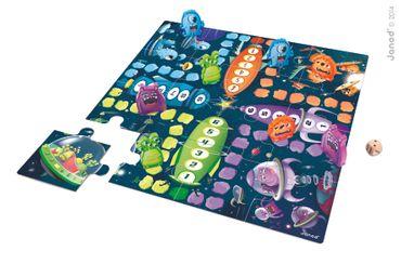 Janod Puzzle mit Spiel Ludo Space Monsters Spielzeug Bodenspiel Würfel 02792 – Bild 5