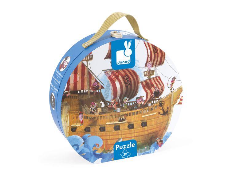 Janod Puzzle Kofferchen Piratenschiff 39 Teile Spielzeug Kinder