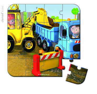 Janod Puzzle-Set Köfferchen Axels Bagger 6-16 Teile Spielzeug Kinder 02885 – Bild 6