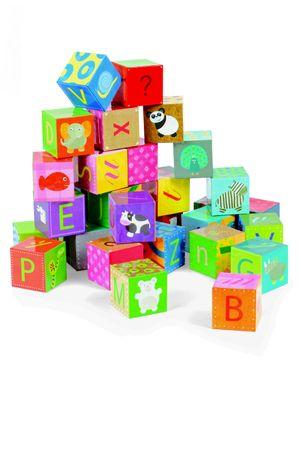 Janod Kubkid Würfelpuzzle Alphabet 32 Würfel Puzzle Spielzeug Kinder 02993 – Bild 2